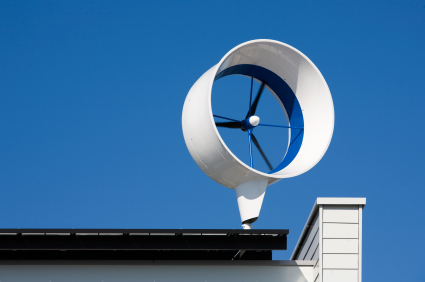 Mantelturbinen-Kleinwindanlage auf dem Dach