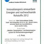 2.Preis Innovationswettbewerb erneuerbare Energien